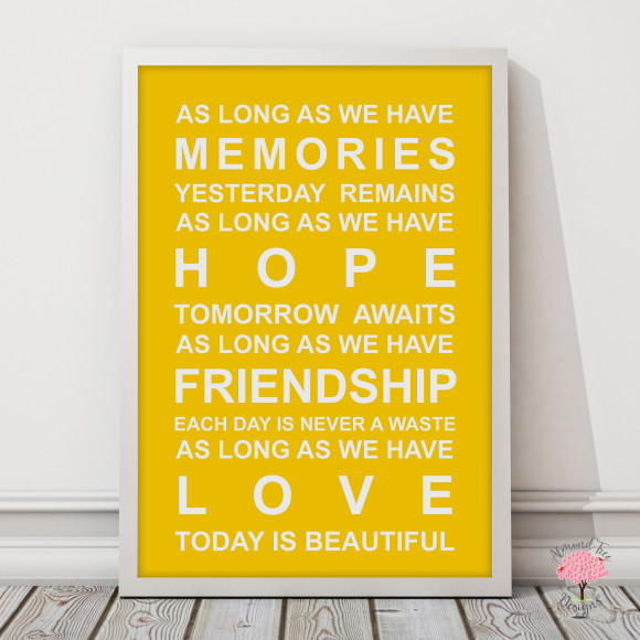 Memories Print in Yellow, with optional Australian-made white timber frame