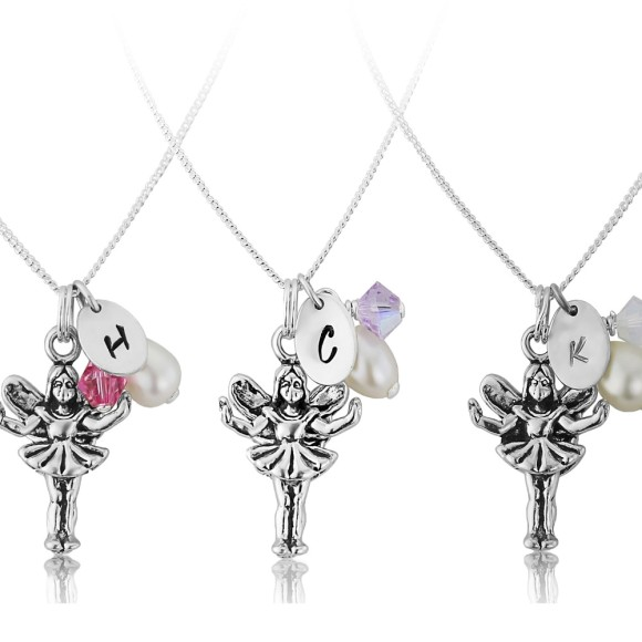 Personalised sterling silver fairy charm necklaces
