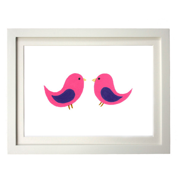 Twin pink birds white frame