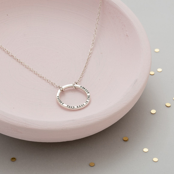 Personalised Full Circle Necklace in silver
