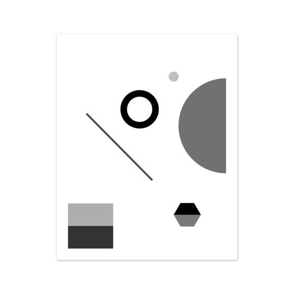 Fete No. 1 Monochrome Geometric Art Print