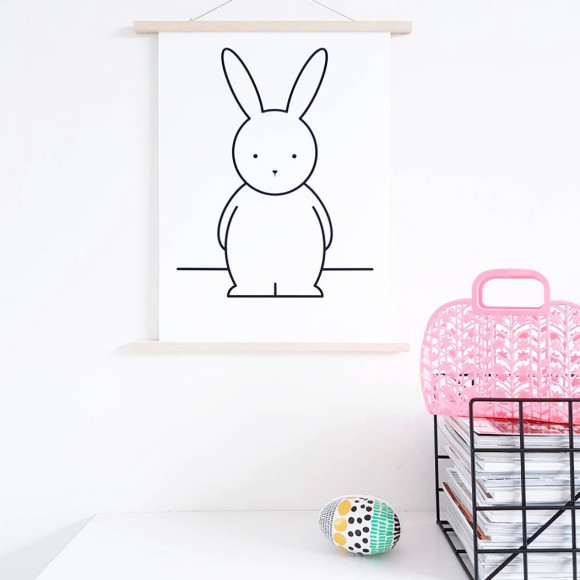 Olivia Rabbit Monochrome Nursery Art Print