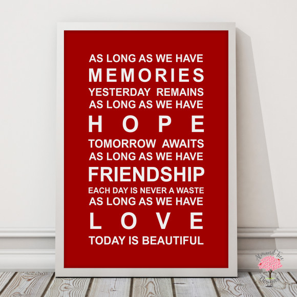 Memories Print in Red, with optional Australian-made white timber frame