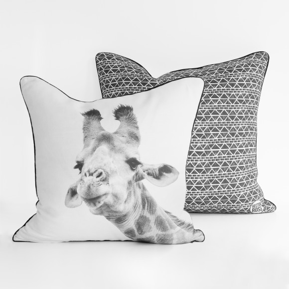 Hector Rose Giraffe & Aztec Cushion