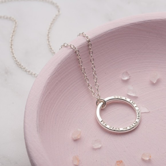 Personalised Circle Necklace in sterling silver