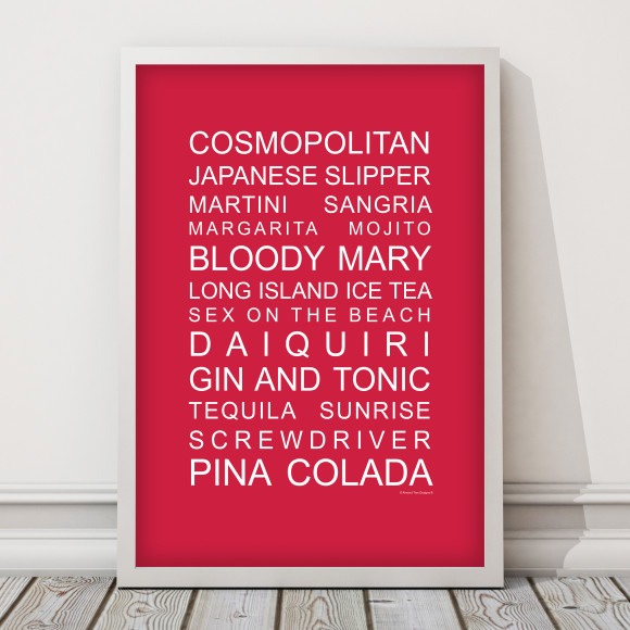 The perfect party list cocktail print in Red, with optional Australian-made white timber frame