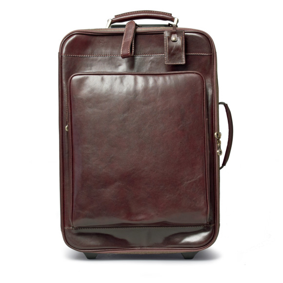 Chocolate brown leather wheeled suitcase