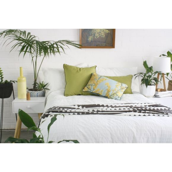 Blue Wattle cushion cover brings the Australian backyard inside!
