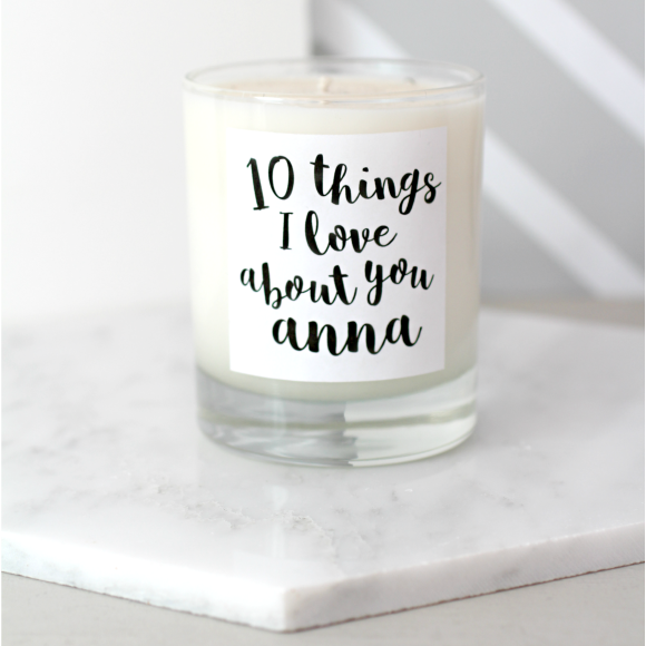Personalised 10 Things I Love About You Scented Candle