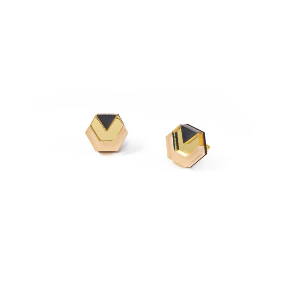 Little Hex Studs - Peach / Gold / Navy