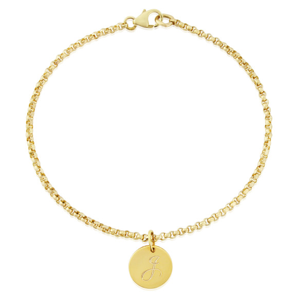 Soho Goldfill Bead Bracelet with Gigi Initial Charm