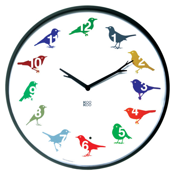 KooKoo UltraFlat-Color bird sounds wall clock
