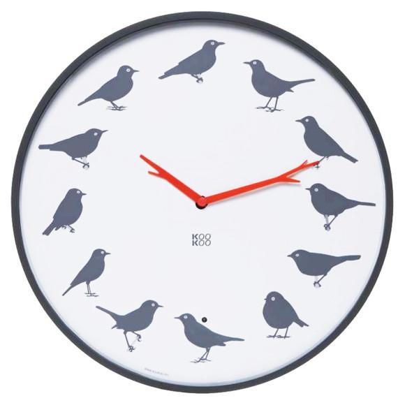 KooKoo UltraFlat bird sounds wall clock