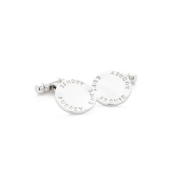 WILLIAM sterling silver cuff links hand-stamped with three names