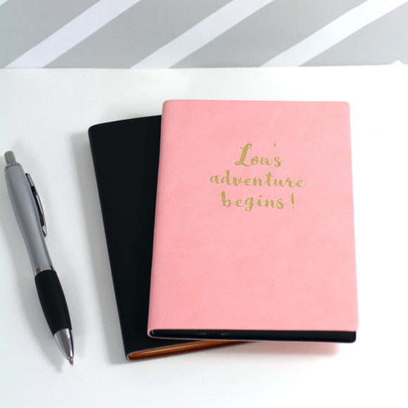 The Adventure Begins notebook in pink