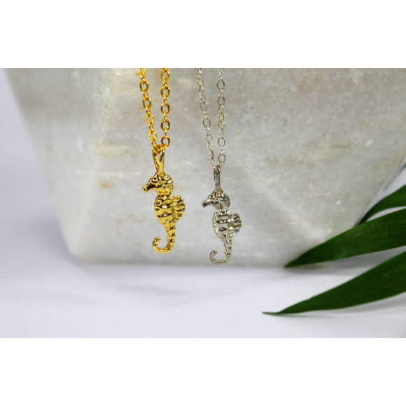 Sterling silver & gold seahorse charm