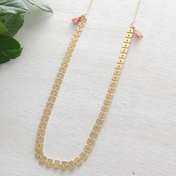 Bamboo Tassel Necklace Orange Gold
