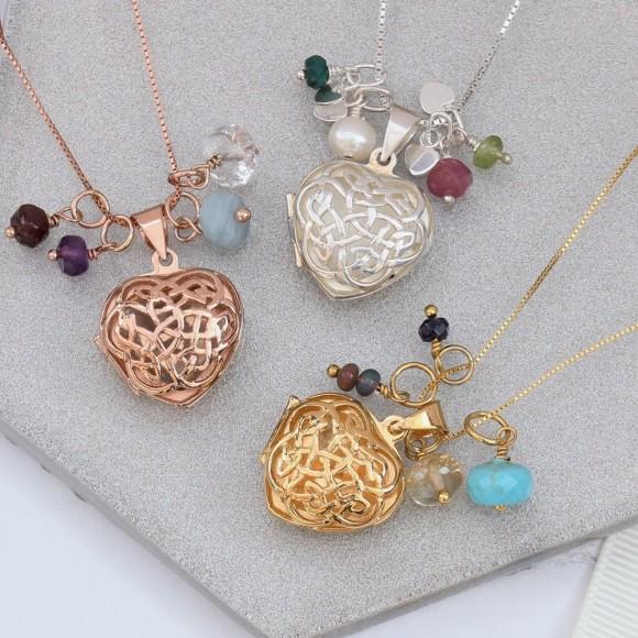 sterling silver rose gold or gold filigree celtic heart locket with birthstones