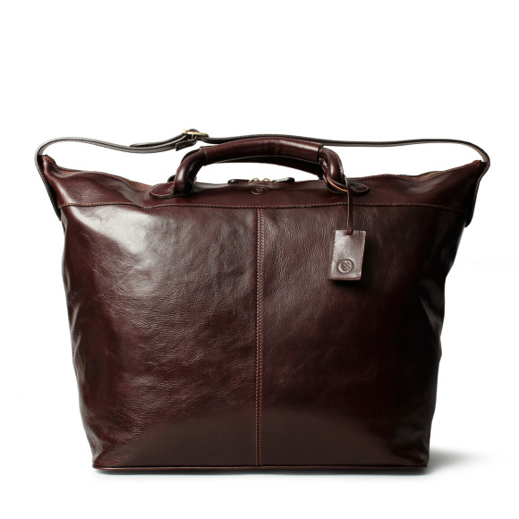 Chocolate brown leather travel bag
