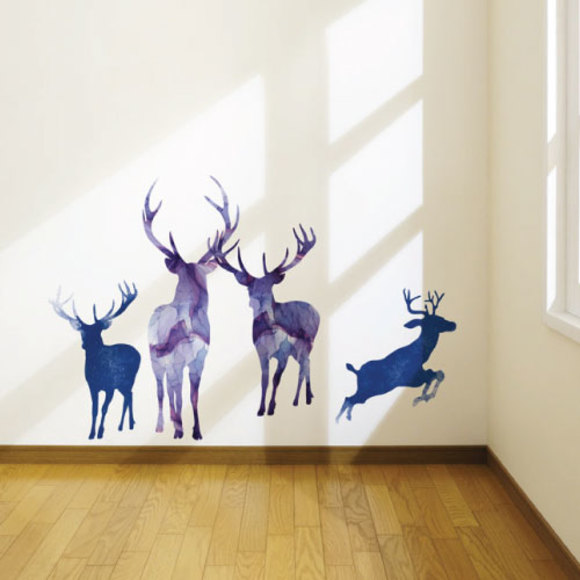 Watercolor deer family wall sticker