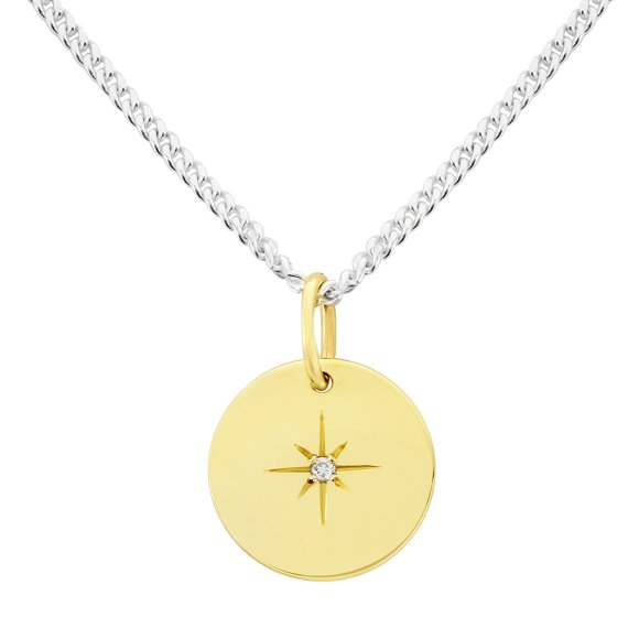 Southern star 9ct gold pendant with diamond hardtofind diamond star pendant on fine silver curb chain mozeypictures Choice Image