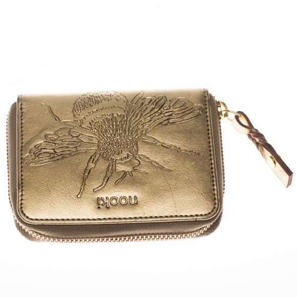 Gold embossed bee purse front