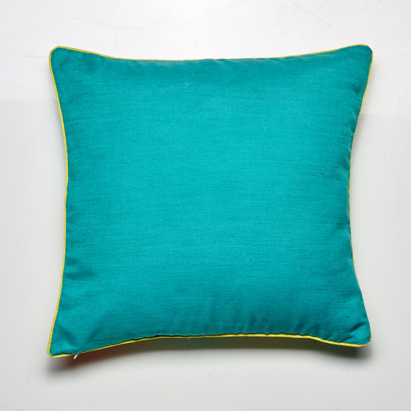 Reverse of the Peacock cushion in teal