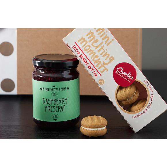 Raspberry Preserve, Spiced Brandy Butter Melting Moments