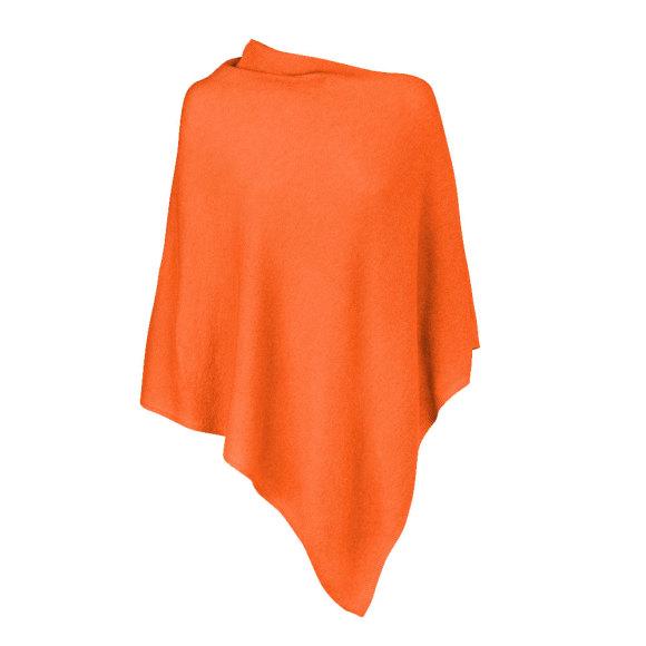 Orange 100% Cashmere Poncho