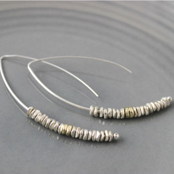 long silver chip and pale yellow gold drop earrings