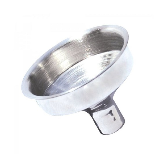 Stainless steel funnel.