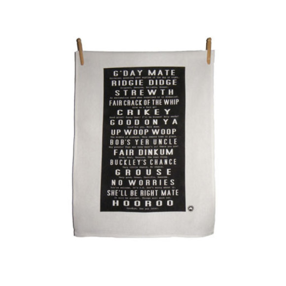 Kirsten Haworth Aussie Slang Tea Towel