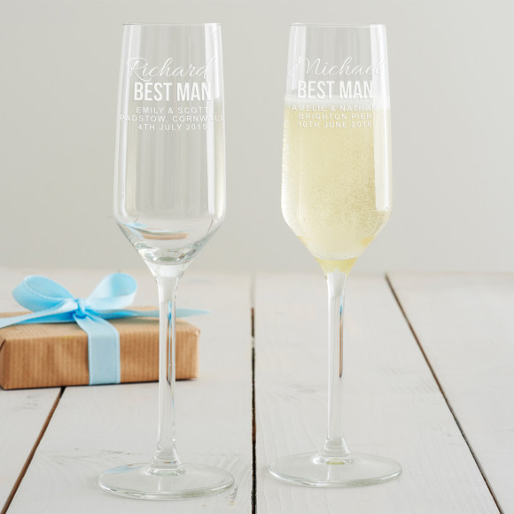 Personalised Best Man Champagne Glass
