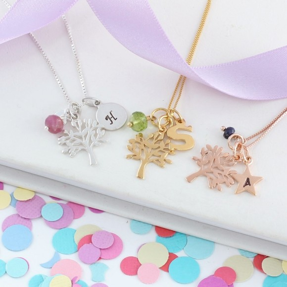 mini sterling silver, rose gold and gold tree of life charm necklace with July, August and September birthstones