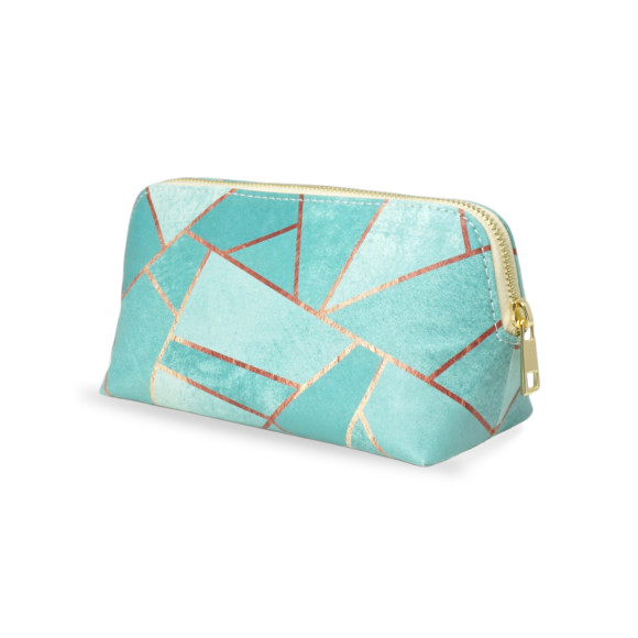 Travel Gift Set: Navy copper geometric wash & make up bag