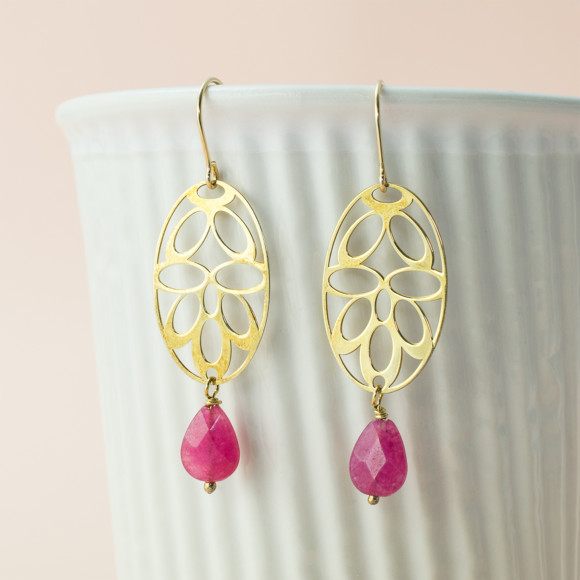 Gold plated pink deco earrings