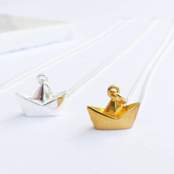 Vermeil gold origami boat necklace