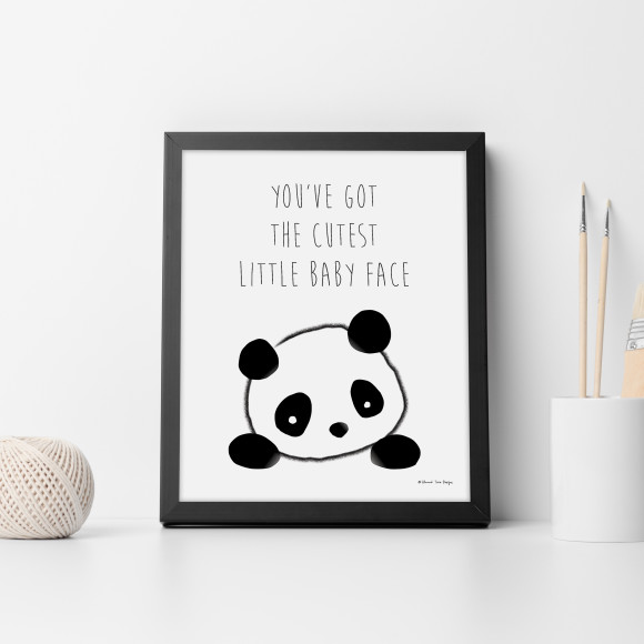 You've Got the Cutest Little Baby Face Panda Wall Art Print in optional black timber frame