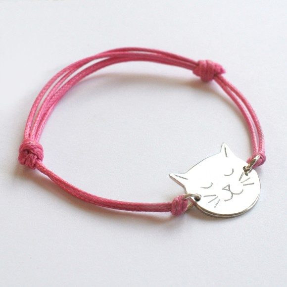 Frida Cat Face Bracelet pink