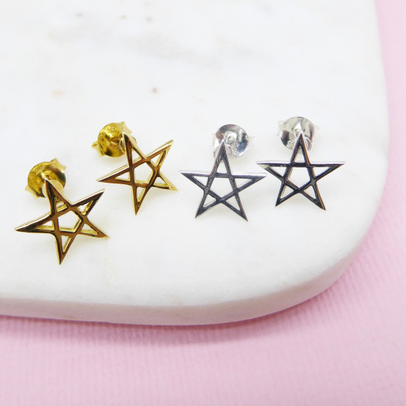 Pentacle Star Stud Earrings