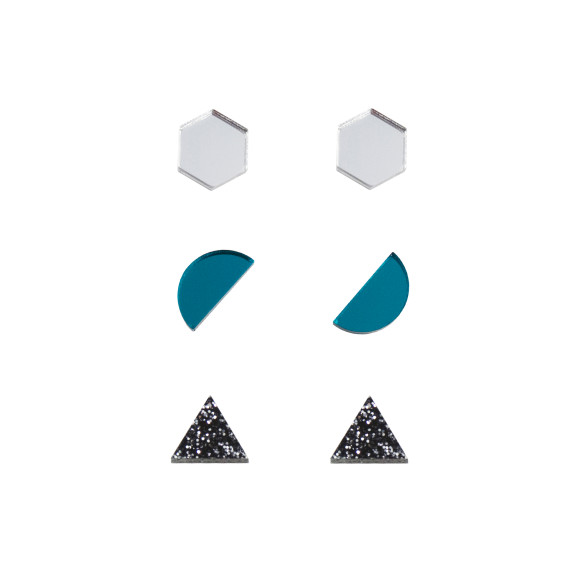 Silver / Teal / Black Glitter
