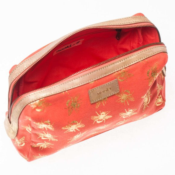 Suki wash bag inside shot in coral