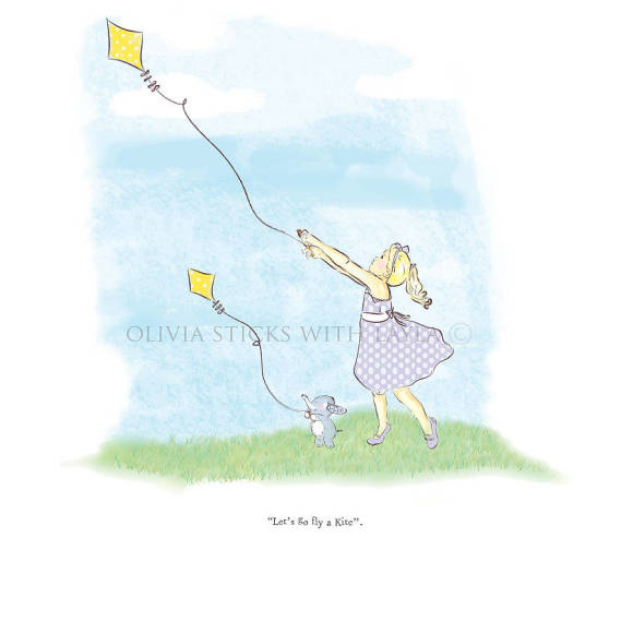 Flying kite print