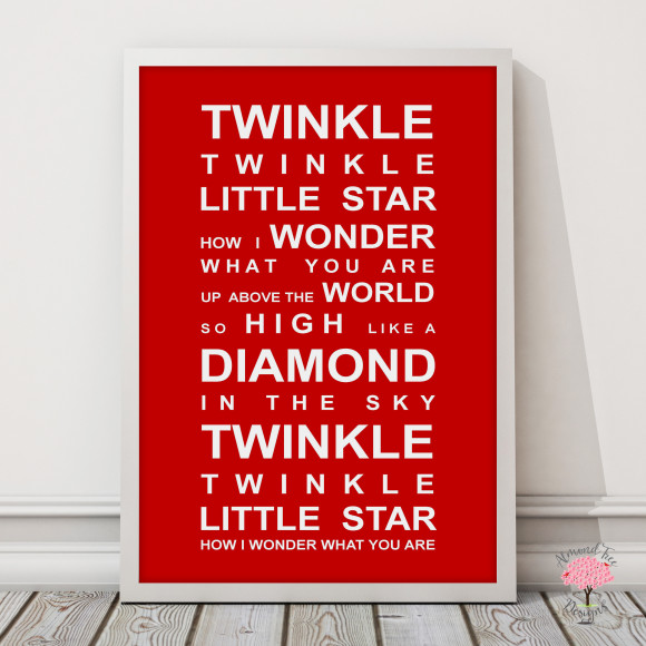Twinkle Twinkle Print in Red, with optional Australian-made white timber frame