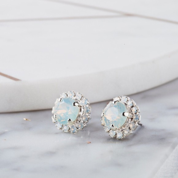 Bridal earrings in White Opal