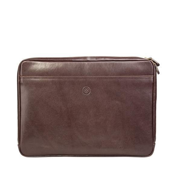 Leather laptop sleeve in chocolate brown