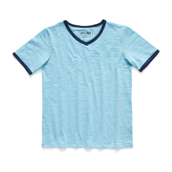 Plain blue V-neck