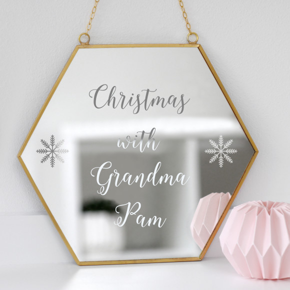 Hexagon Mirror With Personalised Message