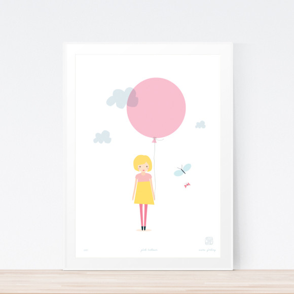Pink Balloon Art Print Framed