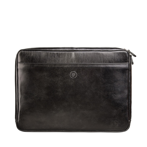 Leather laptop sleeve in black